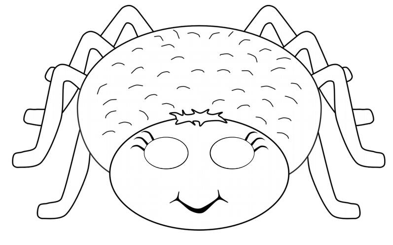 Çocuklar için hazır kağıttan örümcek maskesi şablonu