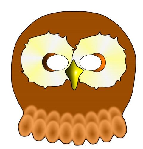 Çocuklar için hazır kağıttan baykuş maskesi şablonu