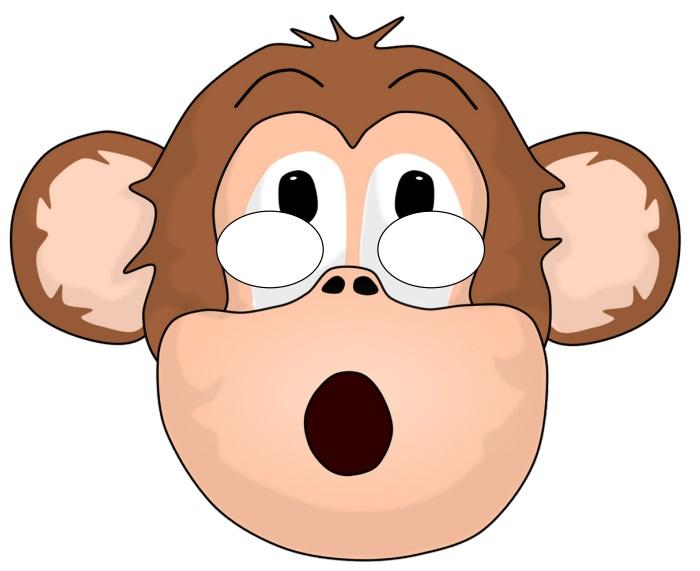 Çocuklar için hazır kağıttan maymun maskesi şablonu