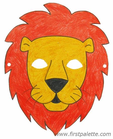 Çocuklar için hazır kağıttan aslan maskesi şablonu