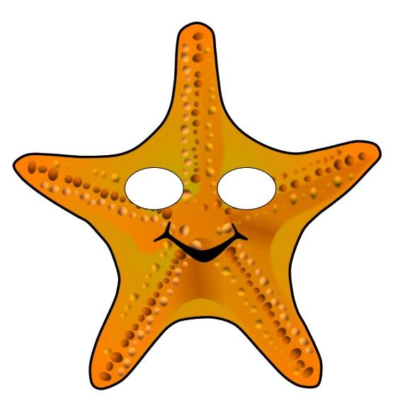 Çocuklar için hazır kağıttan deniz yıldızı maskesi şablonu