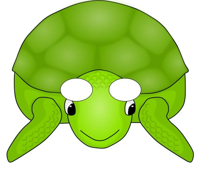 Çocuklar için hazır kağıttan kaplumbağa maskesi şablonu