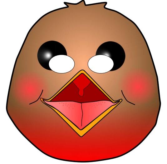 Çocuklar için hazır kağıttan kuş maskesi şablonu