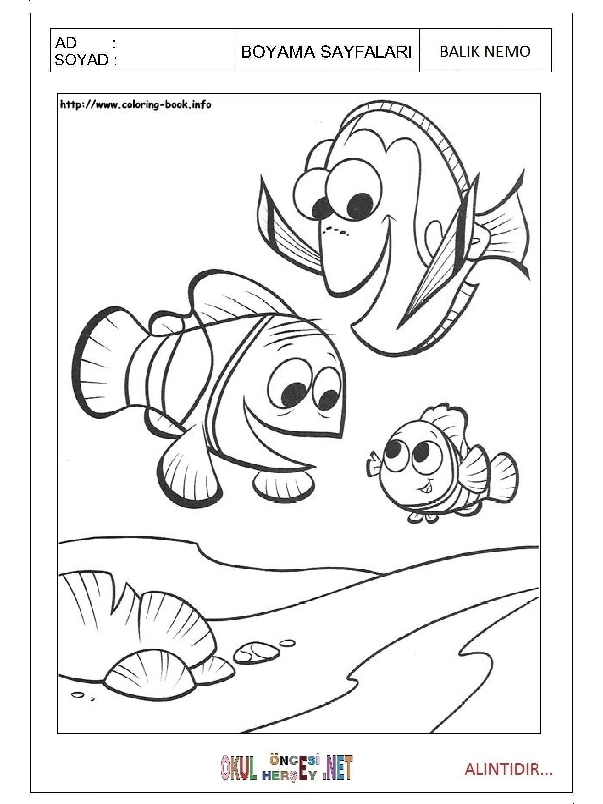 Balik Nemo Boyama Sayfalari