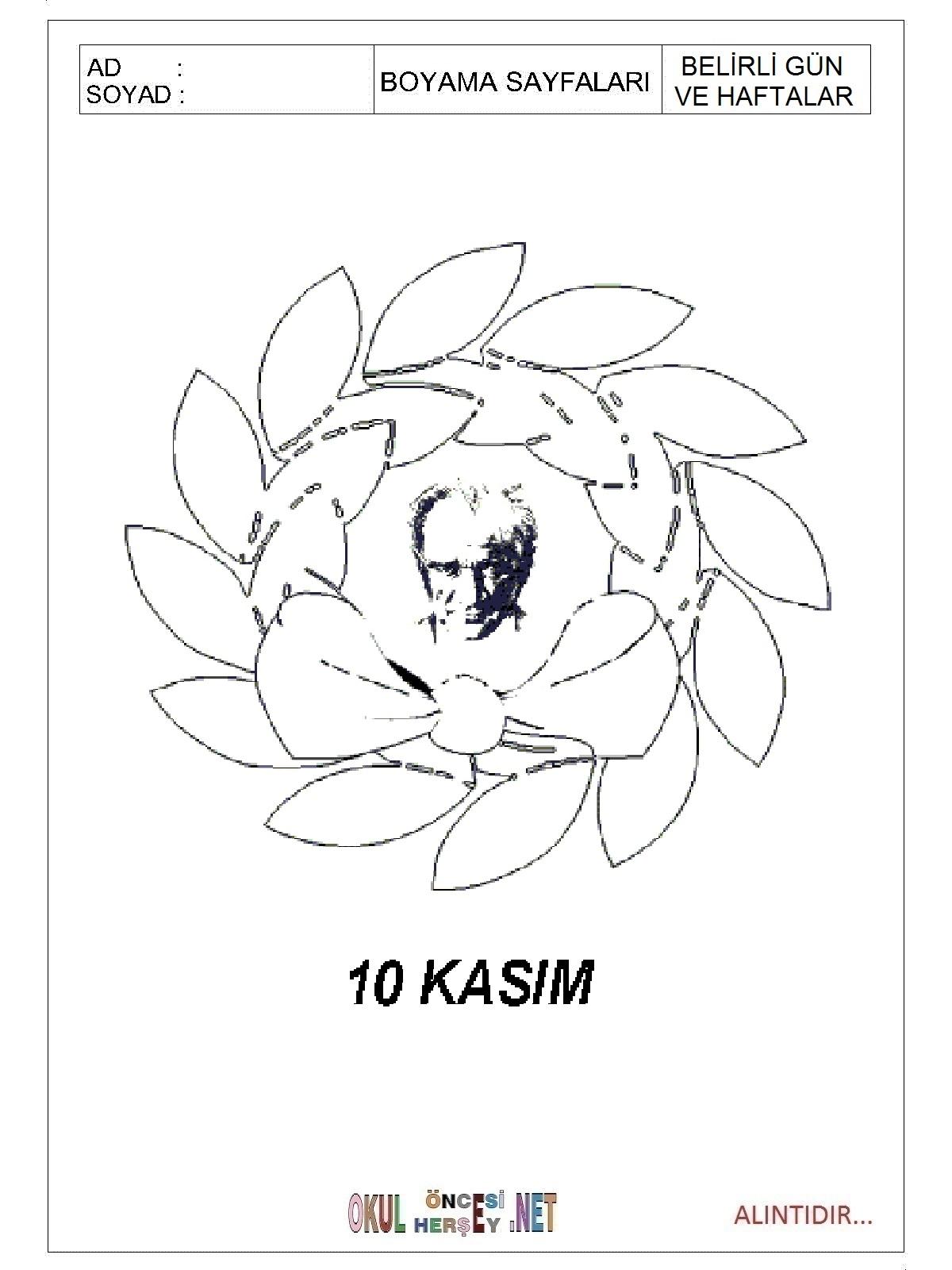 10 Kasim Boyama Sayfalari