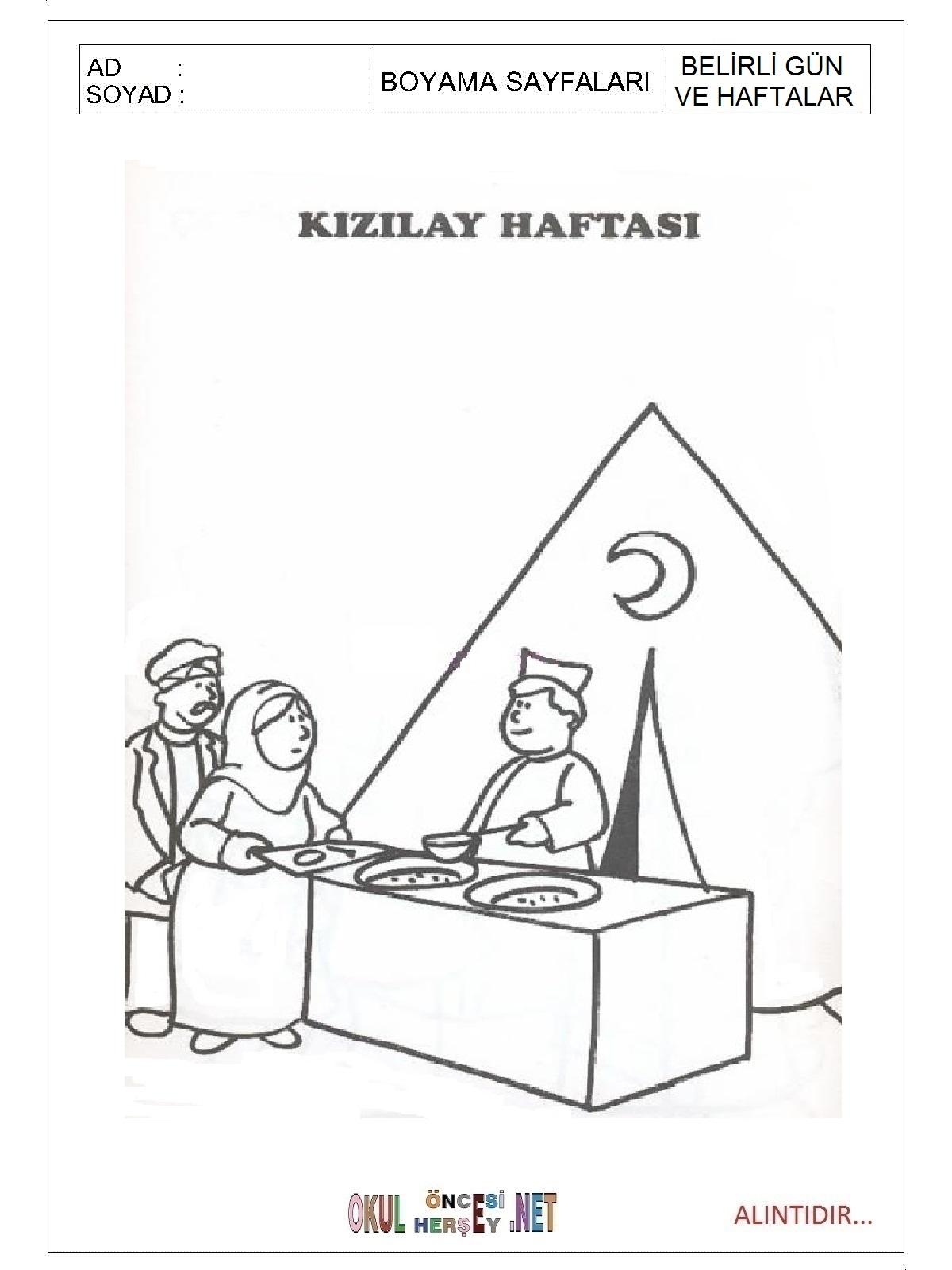 Kizilay Haftasi Boyama Sayfalari