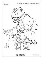 Dinozor Treni Boyama Sayfalari