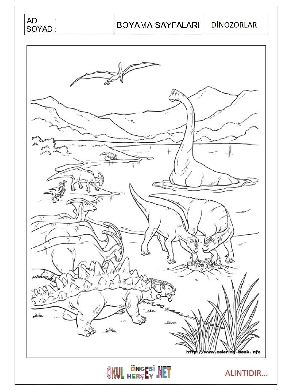 Dinozorlar Boyama Sayfalari