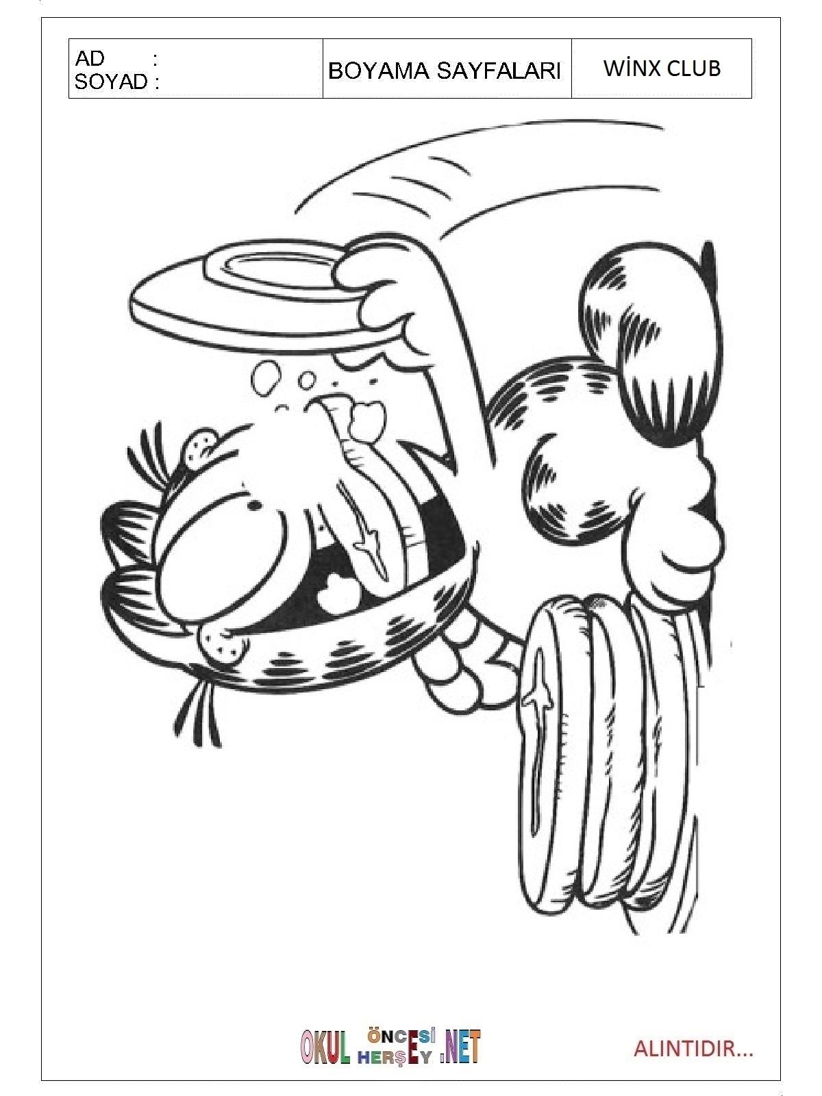 Garfield boyama sayfaları