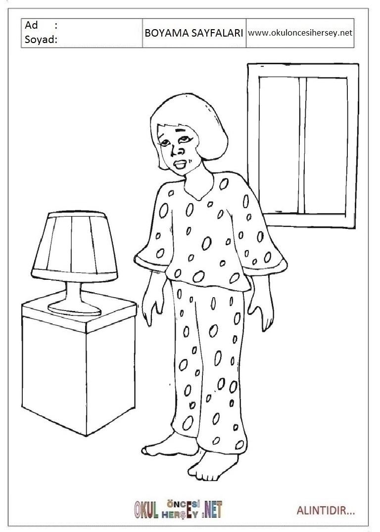 Esofman Pijama Boyama Sayfalari