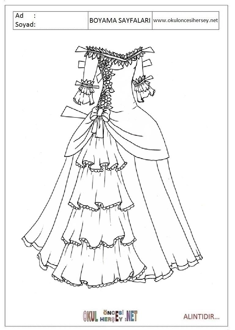 Elbise Boyama Sayfalari