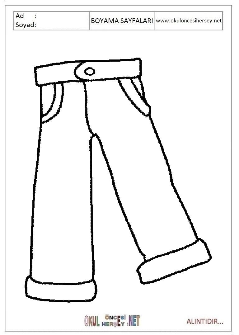 Pantolon Boyama Sayfalari