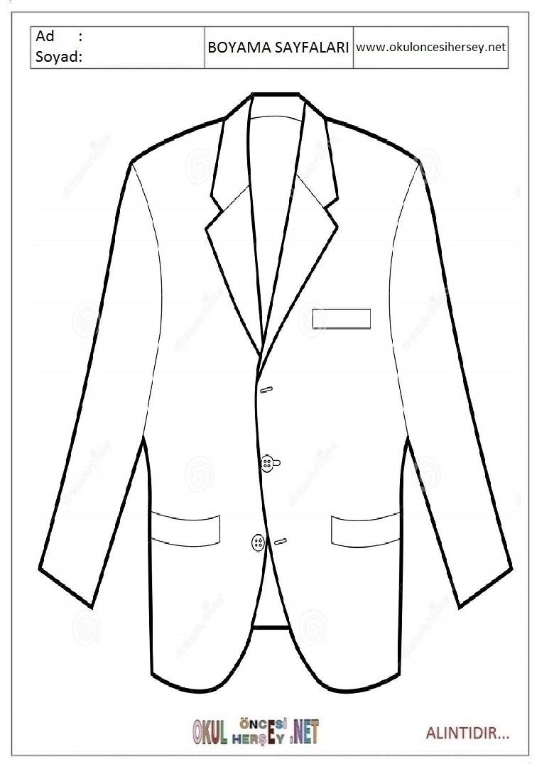 Takim Elbise Ceket Boyama Sayfalari