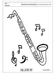 Saksofon Boyama Sayfalari