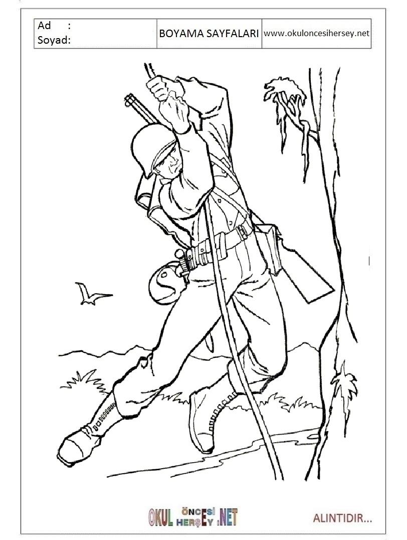 Картинка для детей солдат раскраска
