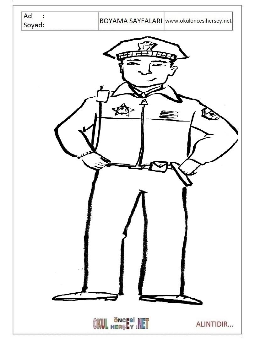 Polis Boyama Sayfalari