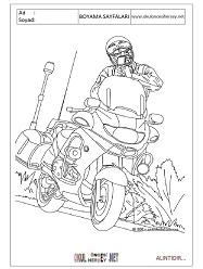 Trafik polisi boyama sayfaları
