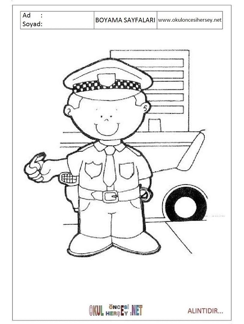 Trafik Polisi Boyama Sayfalari