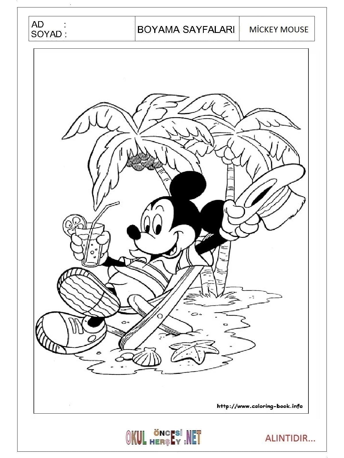 Mickey Mouse Boyama Sayfalari
