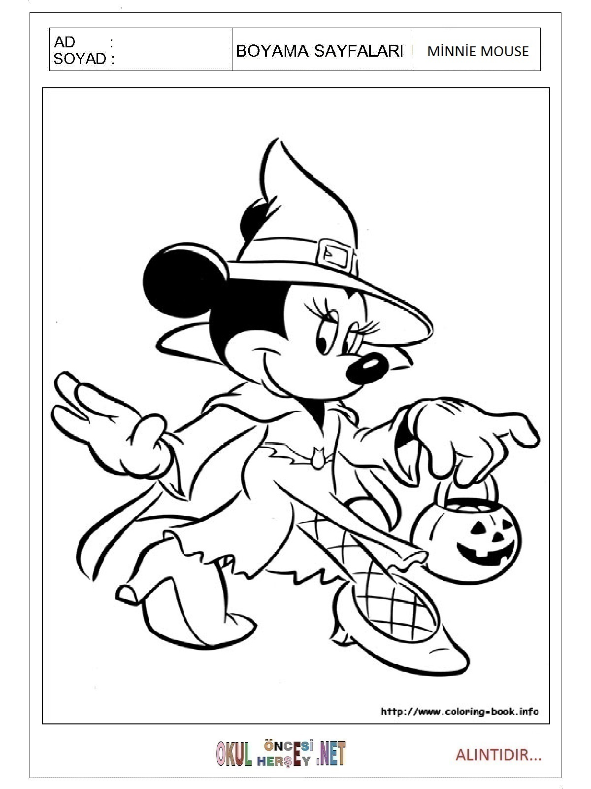 Minnie Mouse Boyama Sayfalari