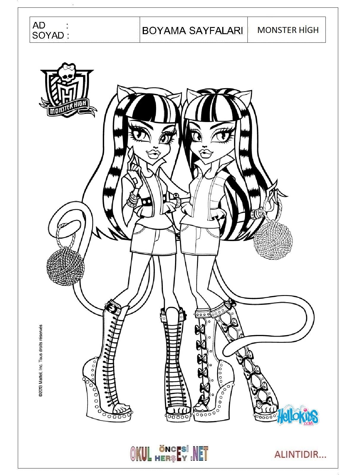 Monster High Boyama Sayfalari