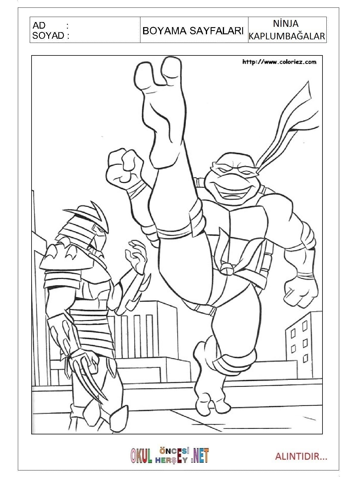 Ninja Kaplumbagalar Boyama Sayfalari