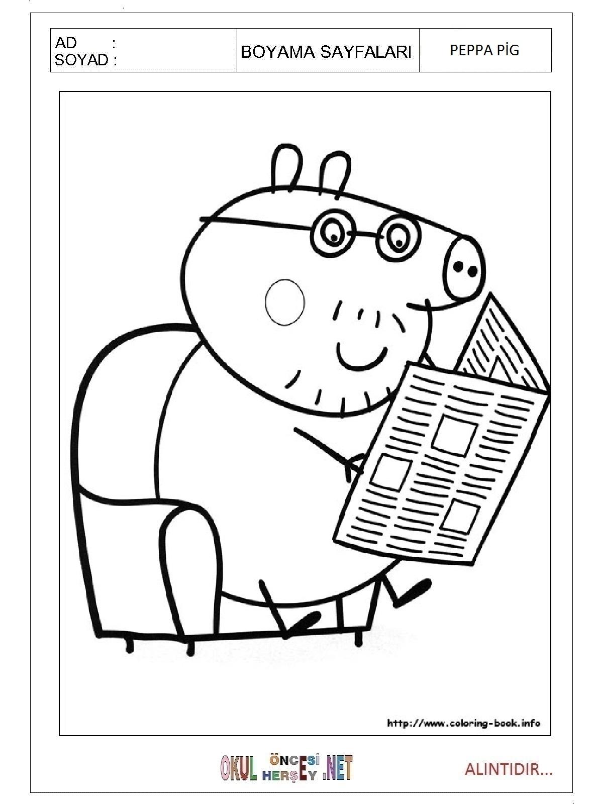 Peppa Pig Boyama Sayfalari