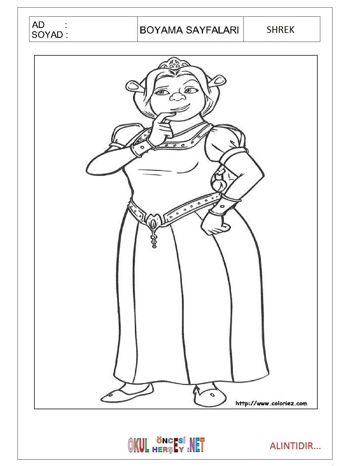 Shrek Boyama Sayfalari