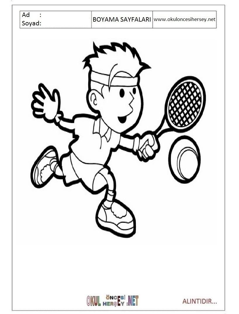 Tenis Boyama Sayfalari