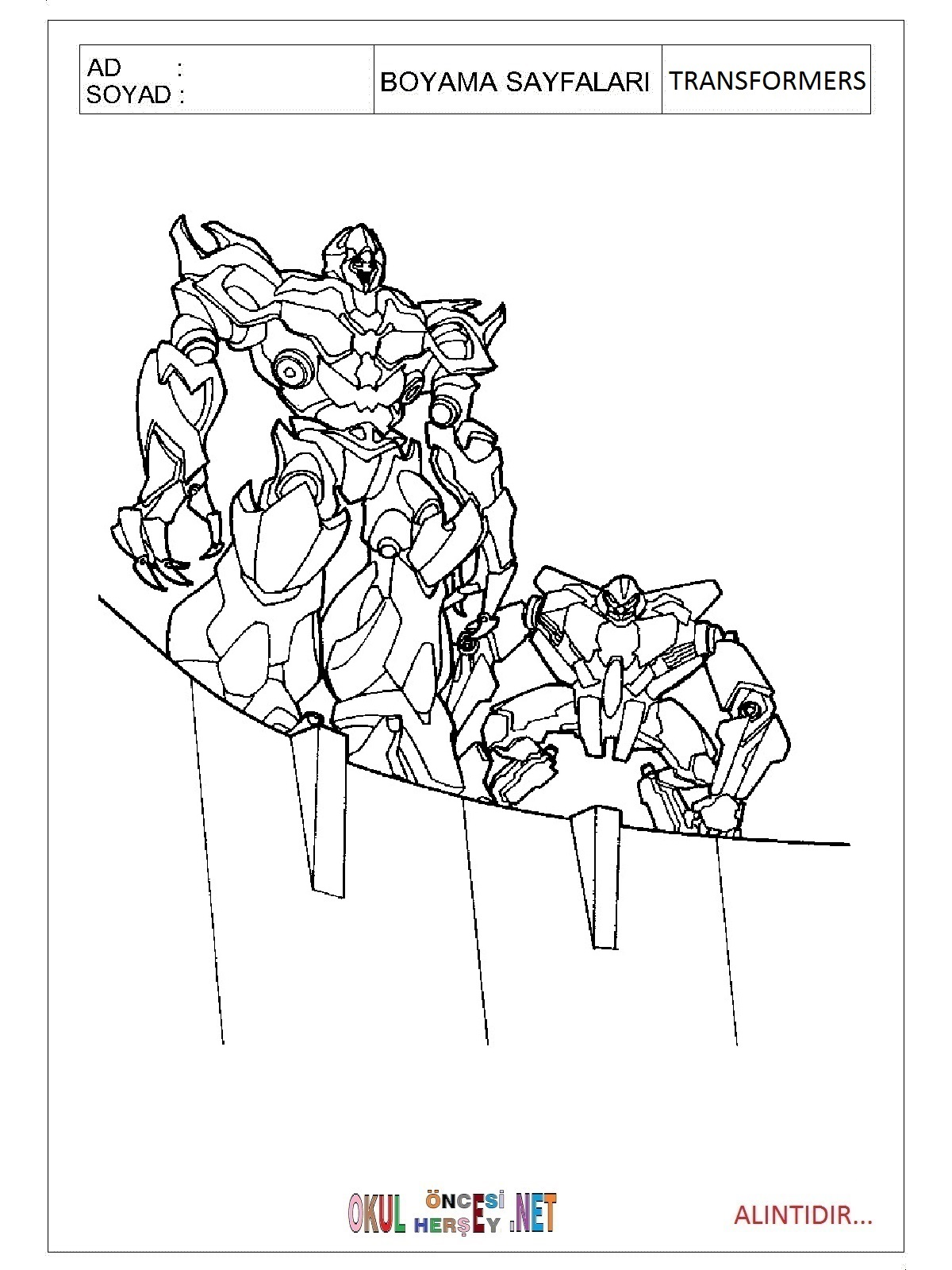 Boyama sayfası transformers boyama sayfası transformers boyama