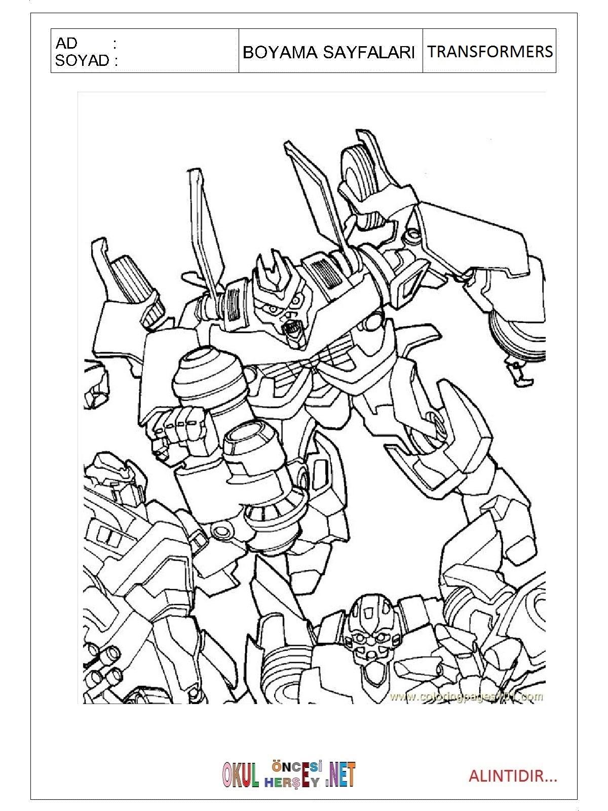 transformers boyama sayfalari
