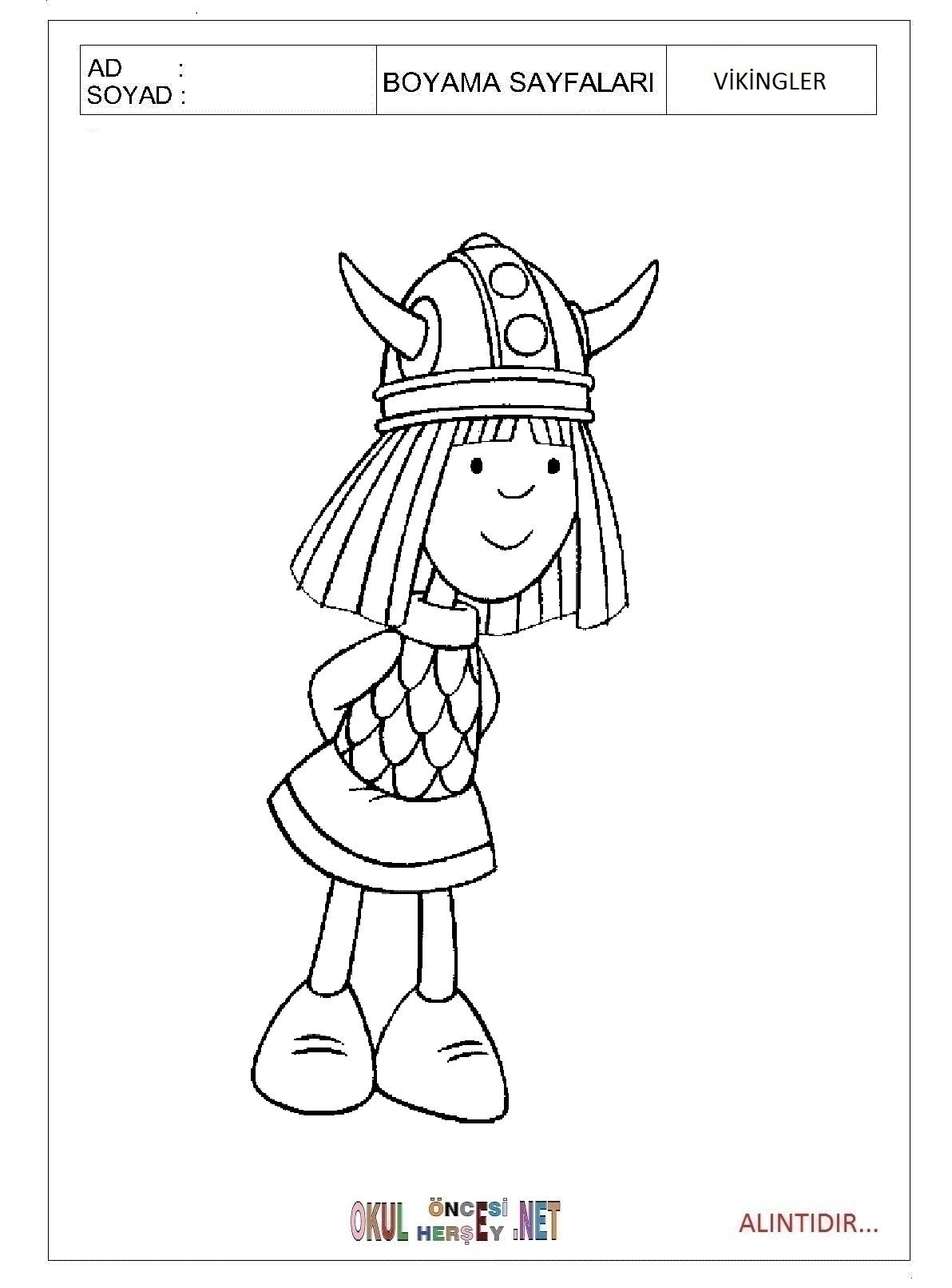 Vikingler Boyama Sayfalari