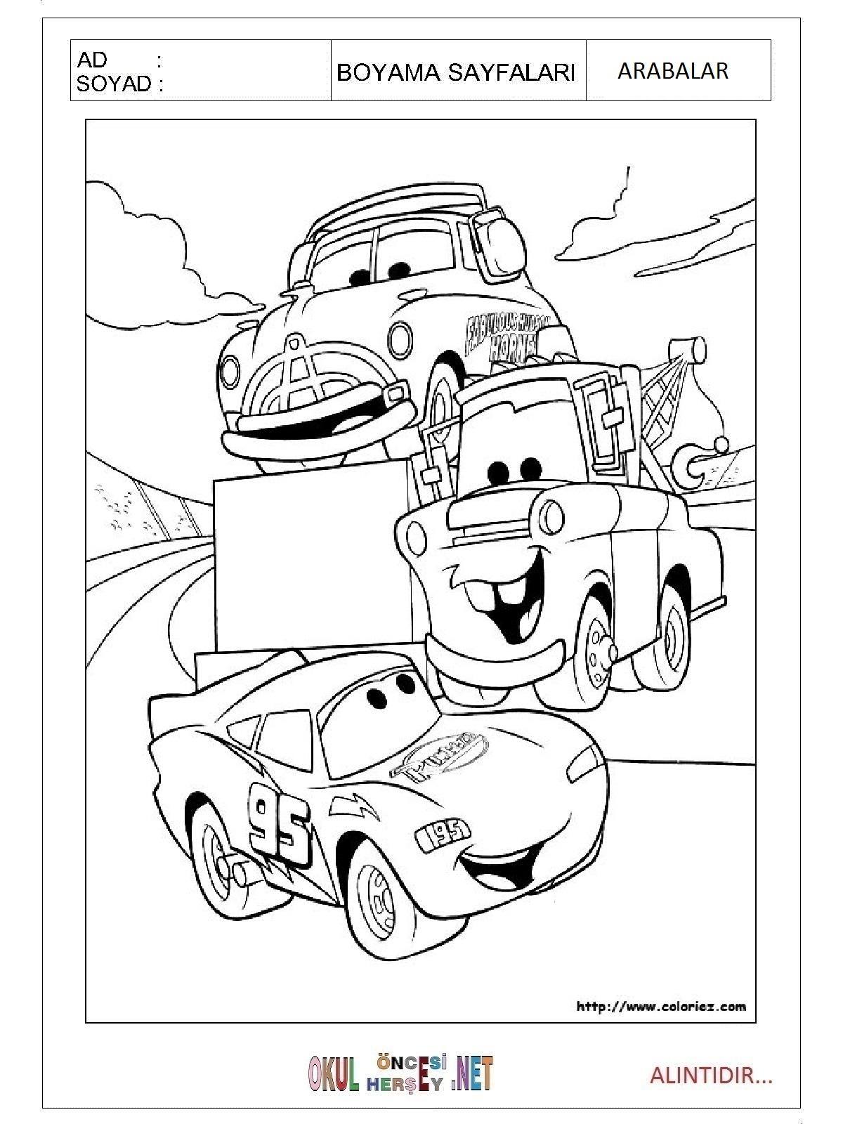 Arabalar Boyama Sayfalari