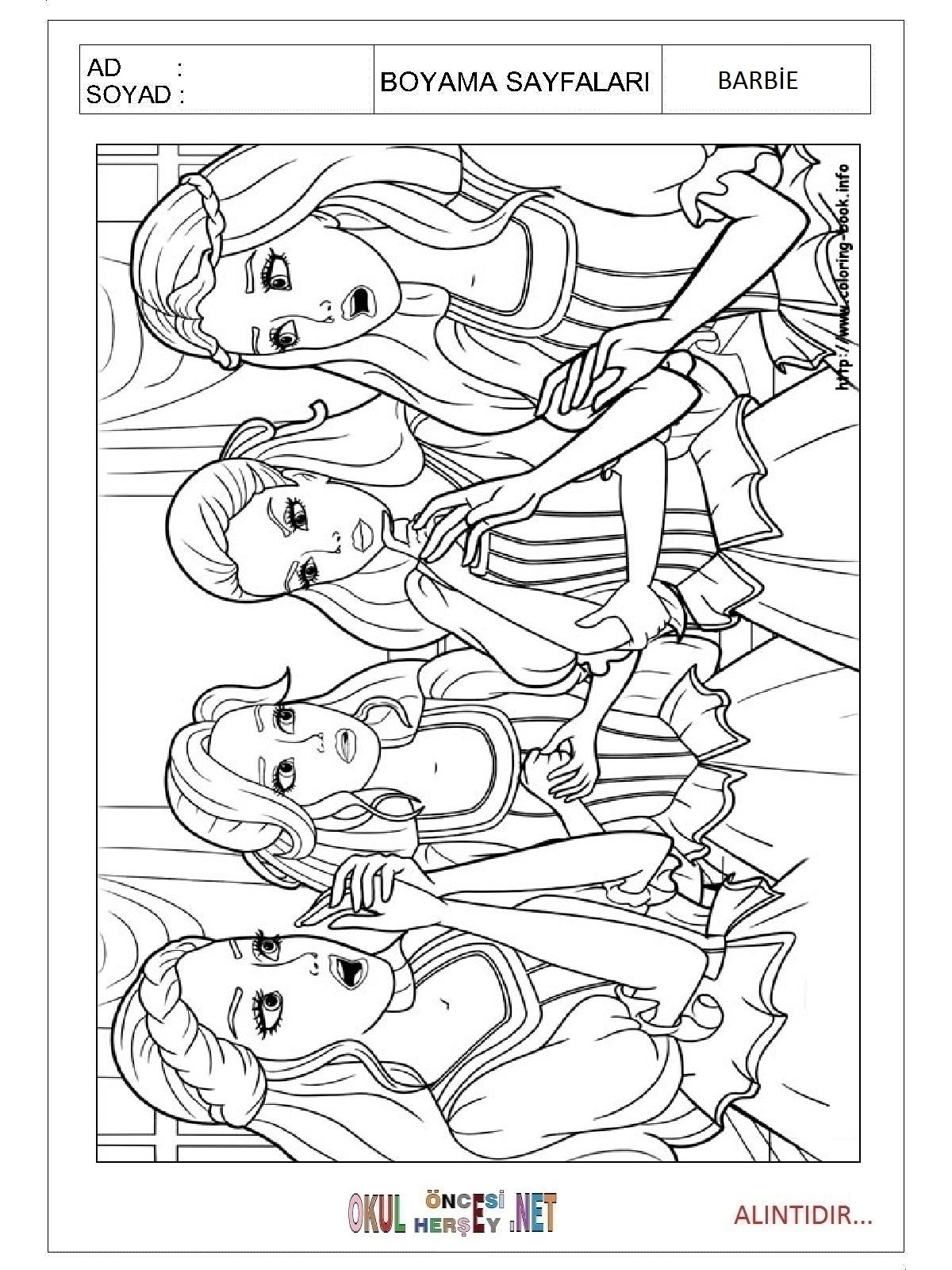 En güzel barbie boyama sayfaları