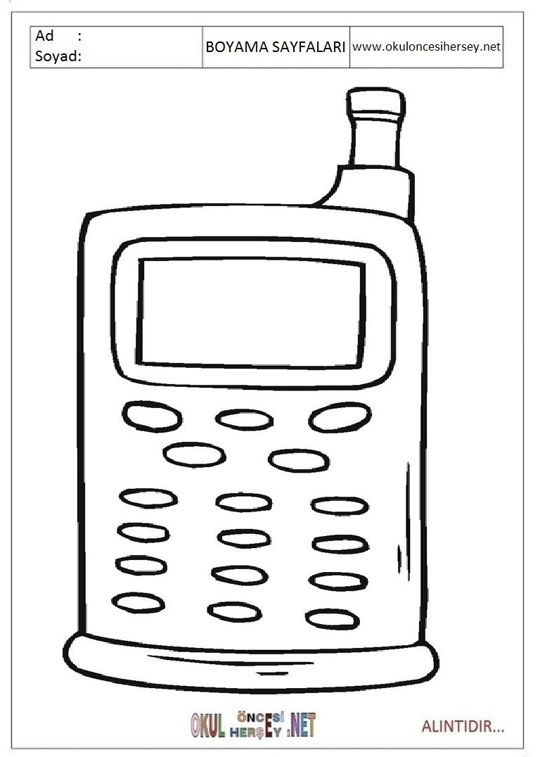 Telefon Resmi Boyama Sayfasi Coloring Free To Print