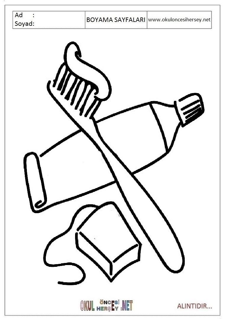 Diş Fırçası Boyama Sayfaları