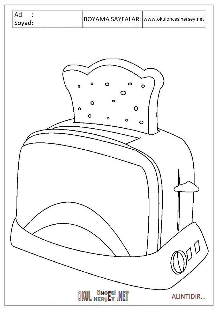 Ekmek Kizartma Makinesi Boyama Sayfalari