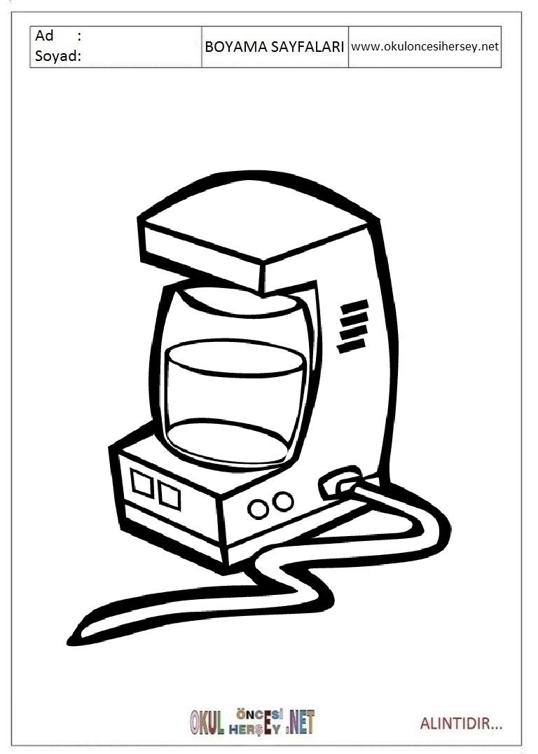 Kahve Makinesi Boyama Sayfalari