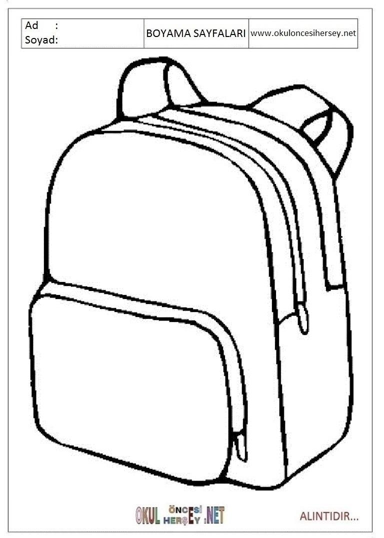 Okul Cantasi Boyama Sayfalari