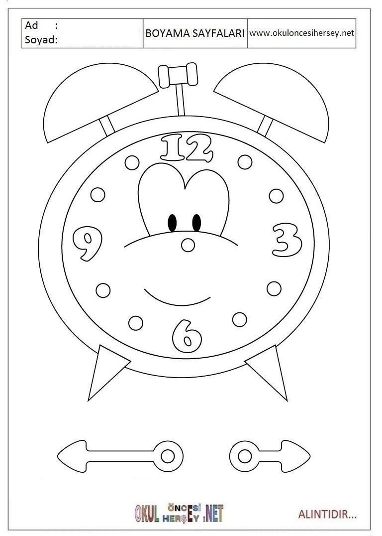 Saat Boyama Sayfaları