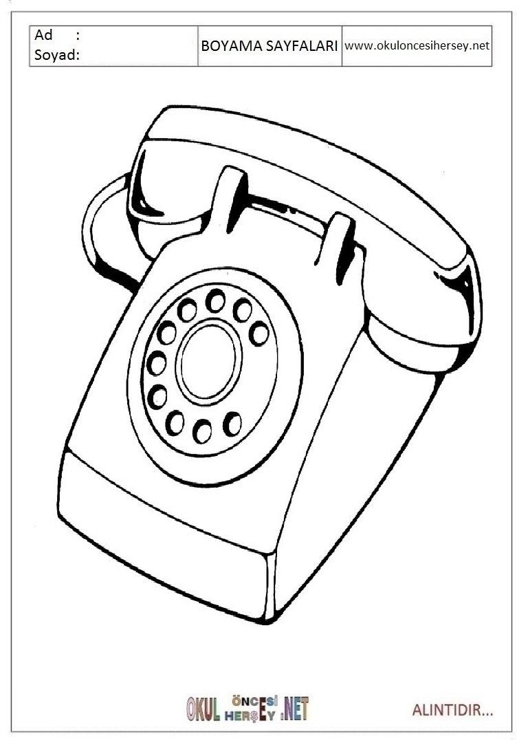 Okul Oncesi Telefon Boyama Sayfalari Narodnapolitika Info