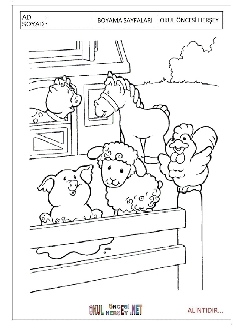 Boyama Sayfasi Okul Oncesi Hayvanlar Coloring Free To Print