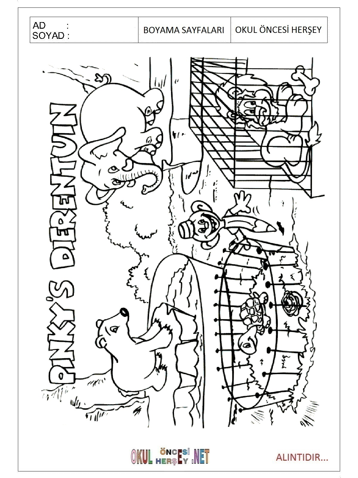 Hayvanat Bahçesi Boyama Sayfaları