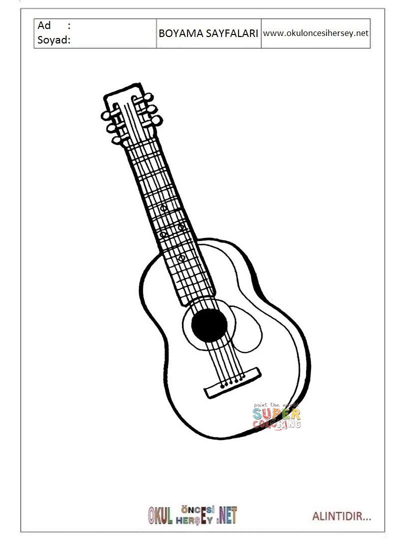 Gitar Boyama Sayfalari