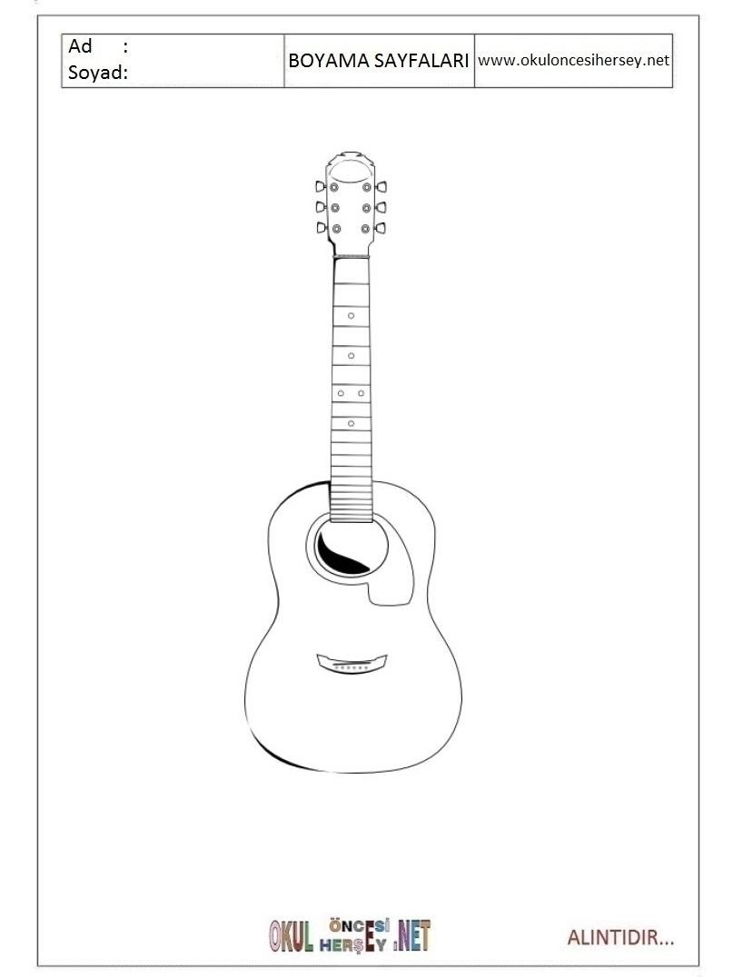 Boyama Resmi Gitar Coloring Free To Print