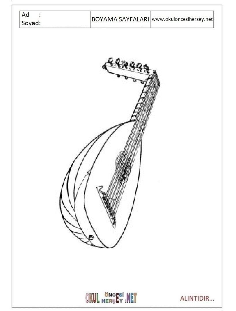 Mandolin Boyama Sayfalari