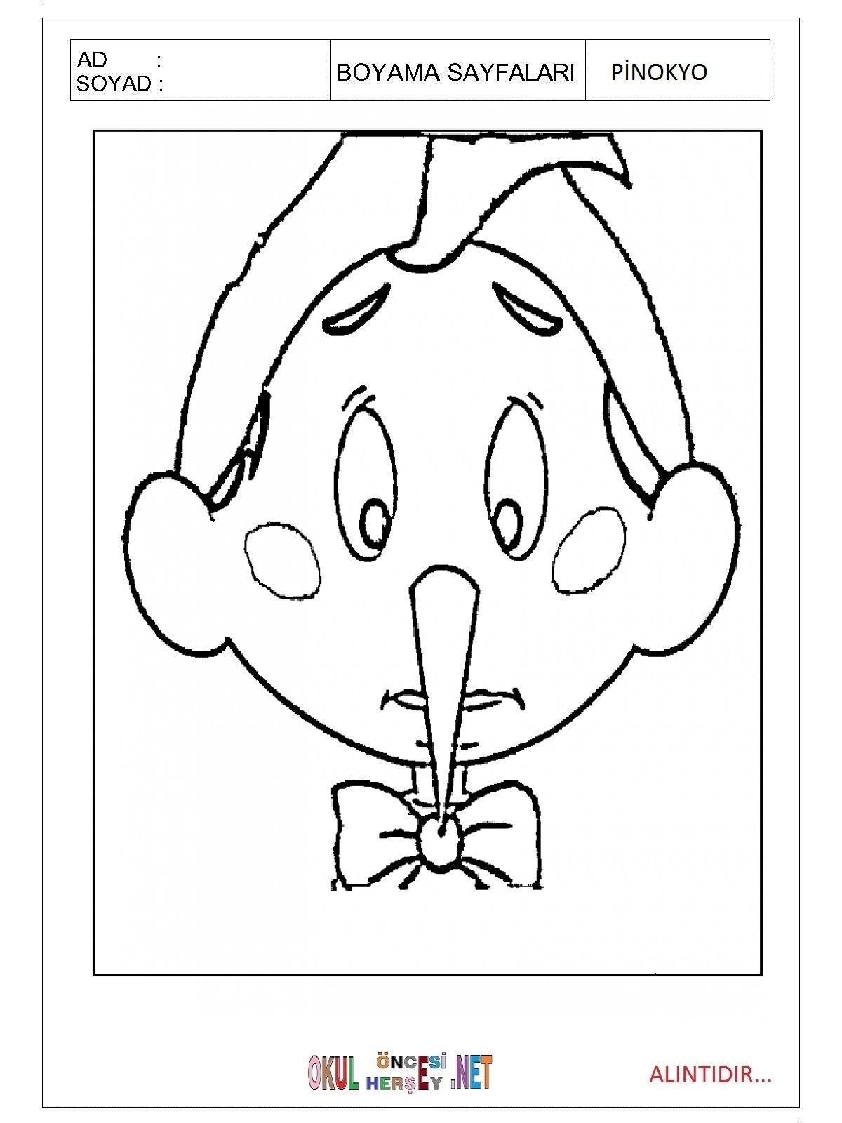 Pinokyo Boyama Sayfalari
