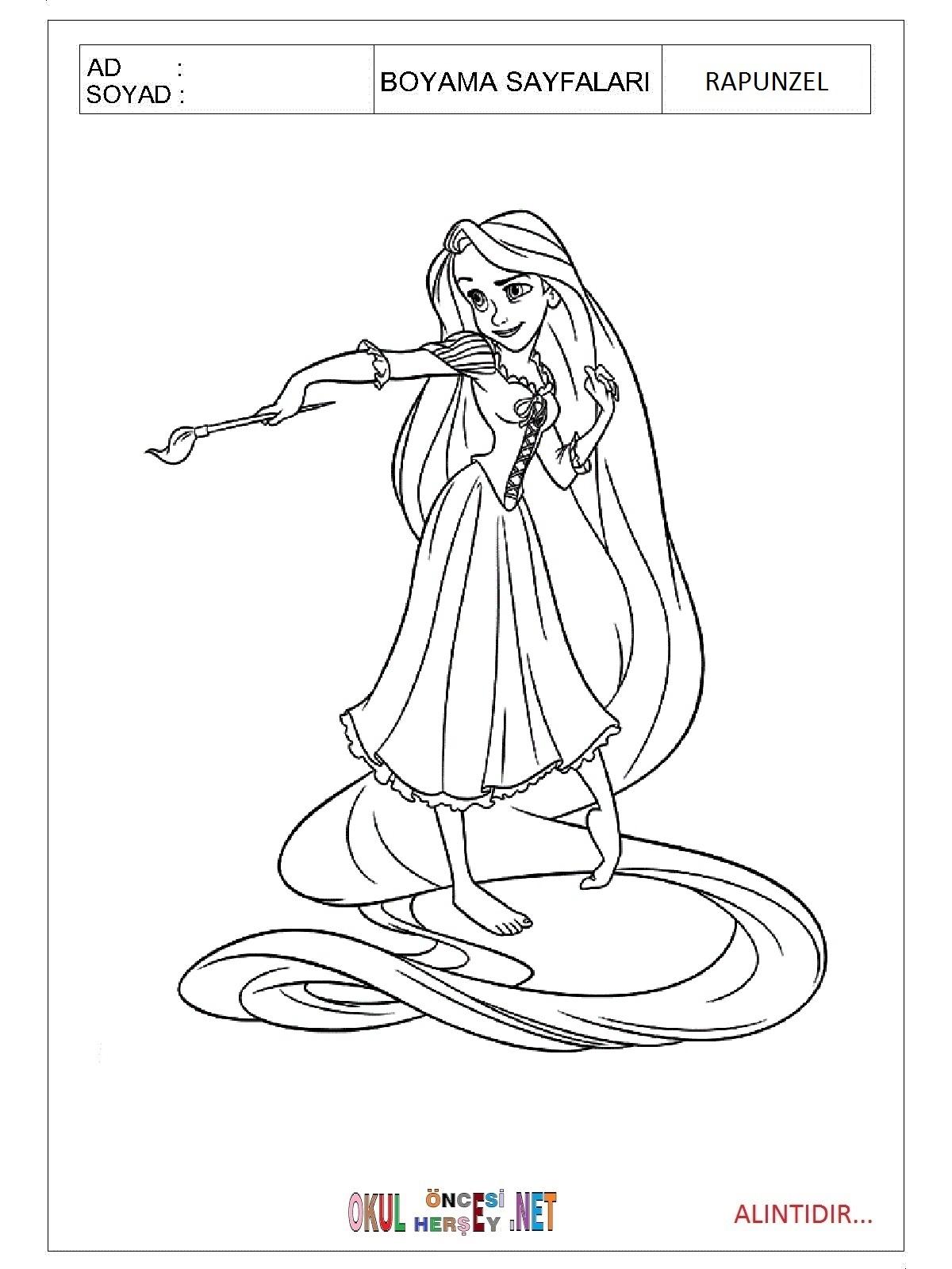 Rapunzel Boyama Sayfalari