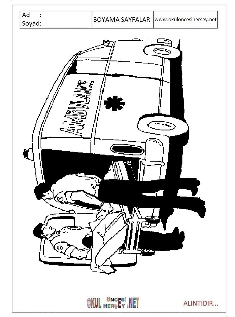 Ambulans Boyama Sayfalari