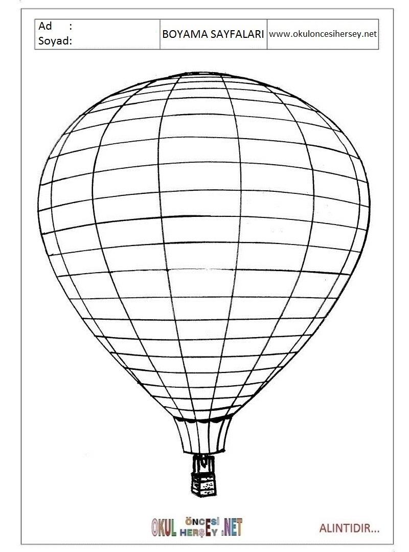 Balon Boyama Sayfalari